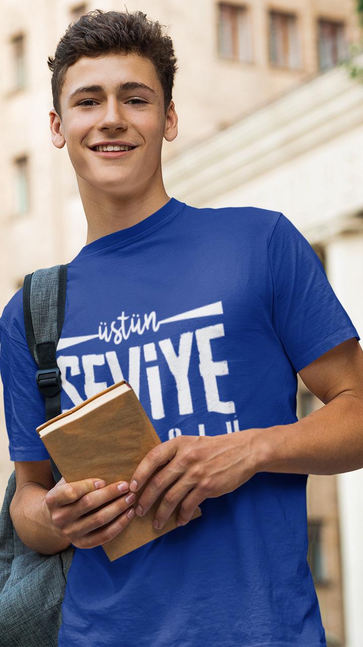 üstün seviye anadolu lisesi saks mavi tişört