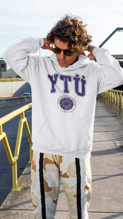yıldız teknik üniversitesi beyaz kapşonlu sweatshirt